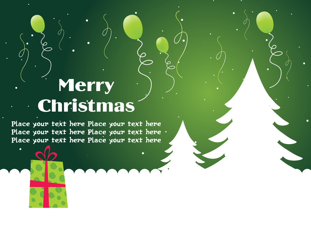 Christmas Background With Gift And Balloons