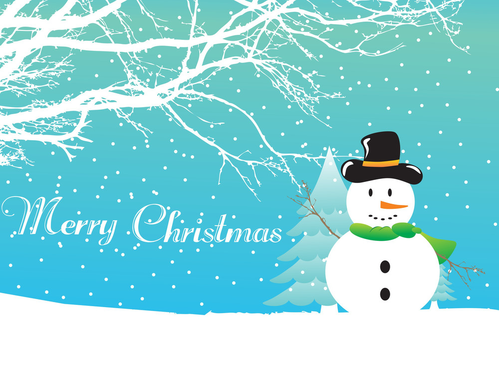 Christmas Background With Snowflakes And Snowman