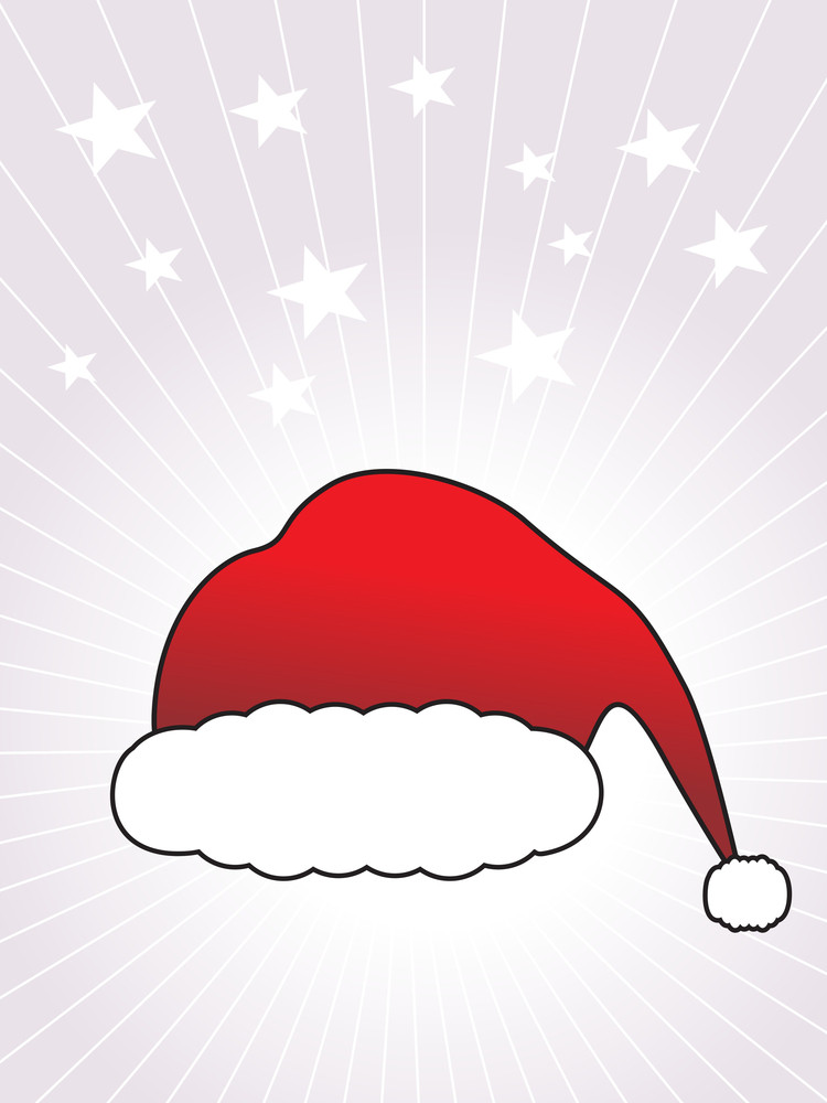 Christmas Background With Vector Santa's Cap