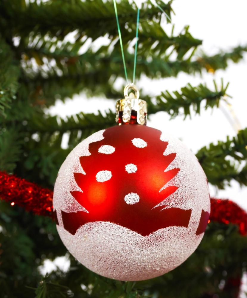 Christmas Ball Hanging On A Tree