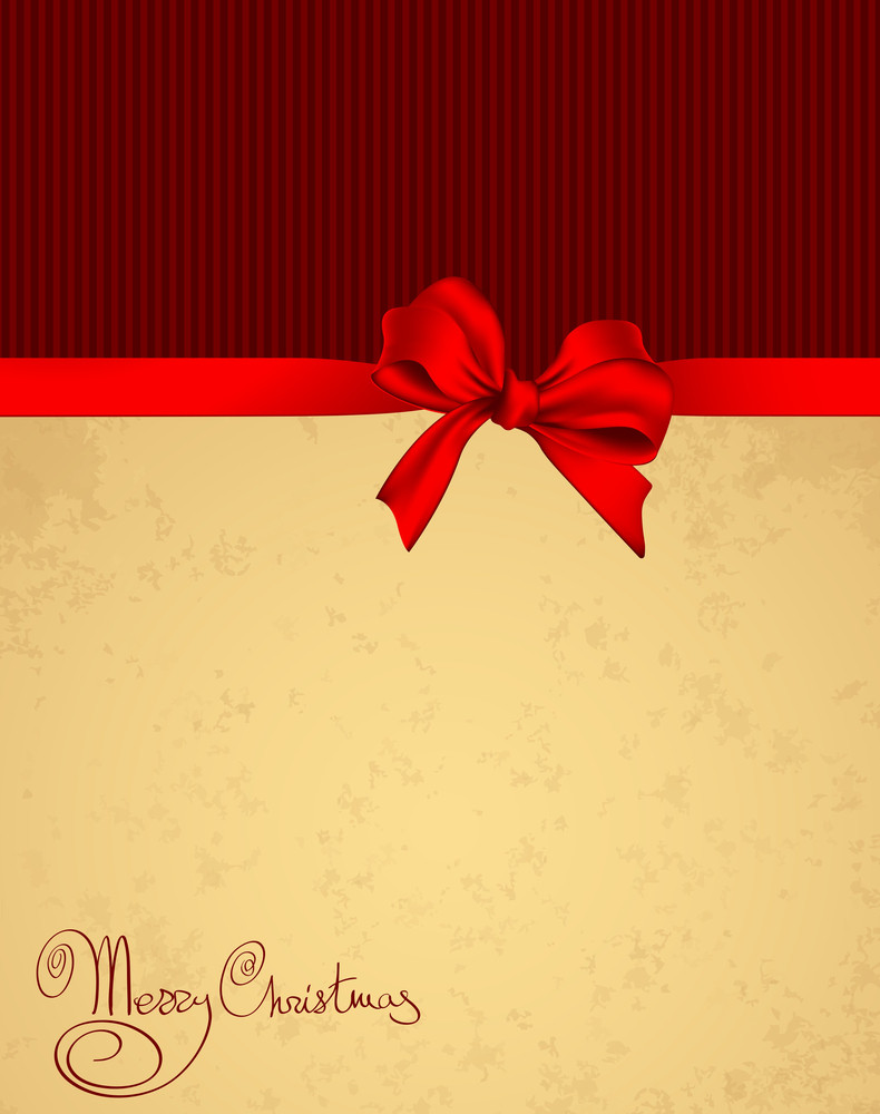 Christmas Bsckground With Shiny Red Satin Ribbon.vector.