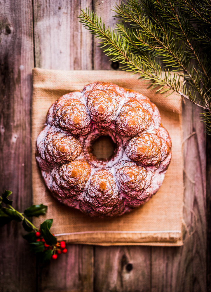 Christmas Cake On Wooden Background