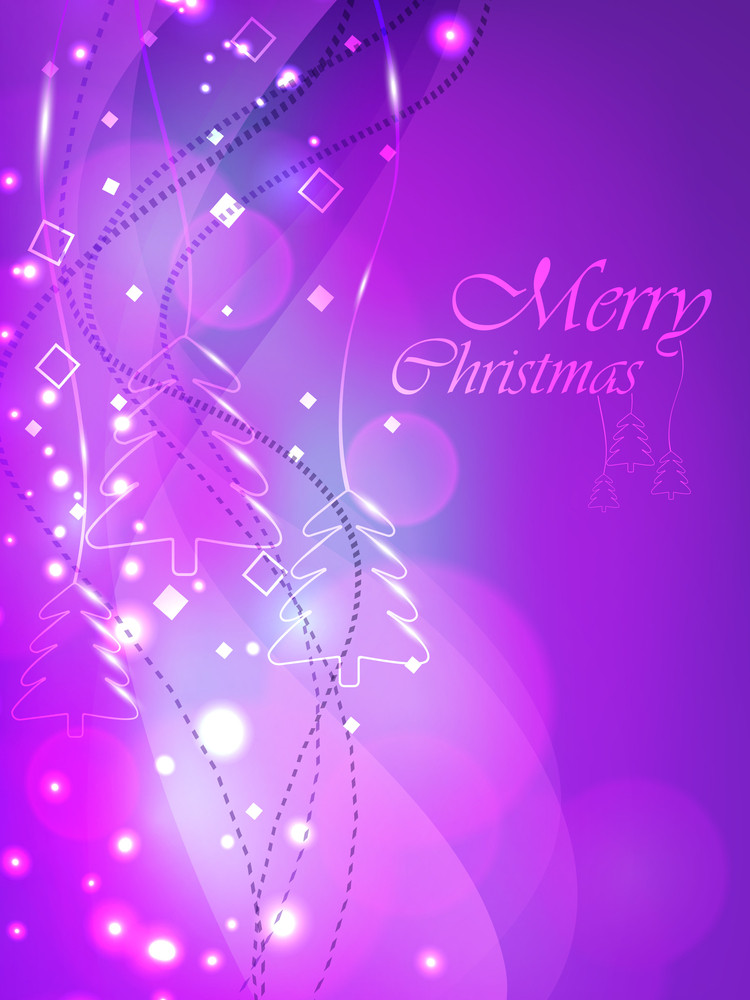 Christmas Card Or Background With Snowflakes And Lights.