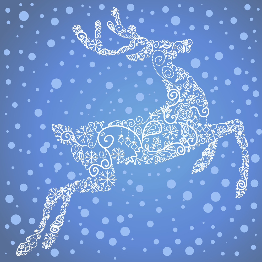 Christmas Card With A Cute Deer And Snowflakes. Vector Illustration