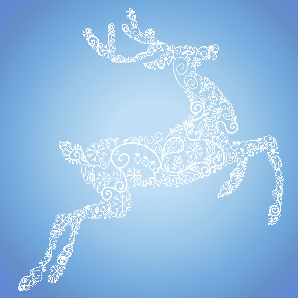 Christmas Card With A Cute Deer. Vector Illustration