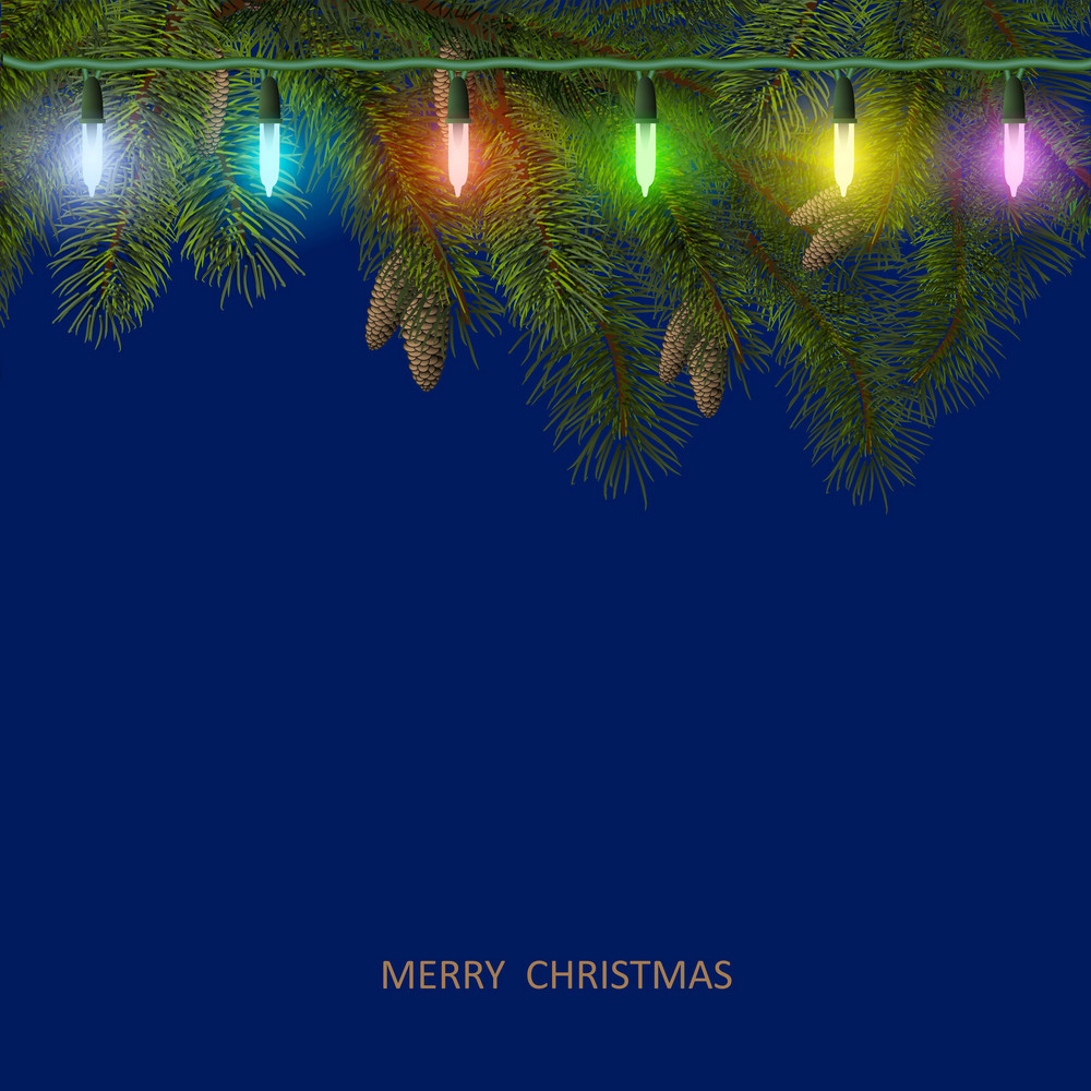 Christmas Card With Fir Tree Branch And Colorful Garland