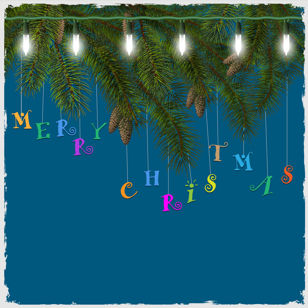 Christmas Card With Fir Tree Branch And Garland