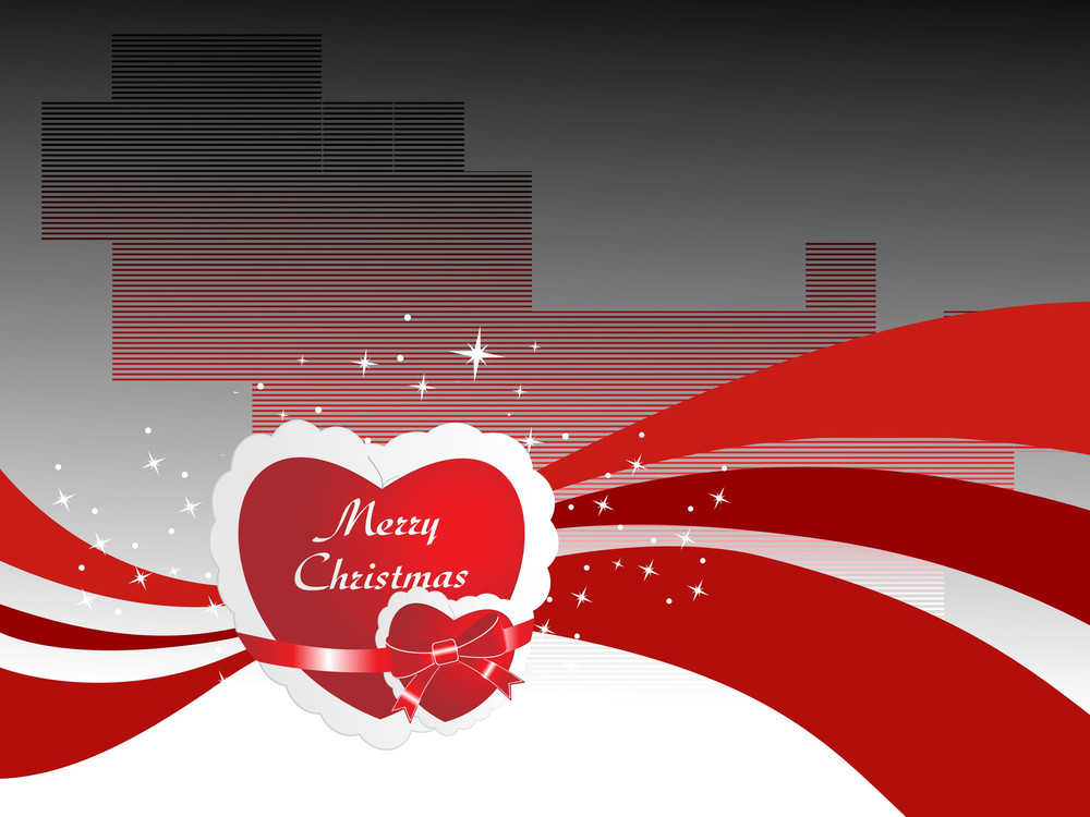 Christmas Card With Heart And Wave