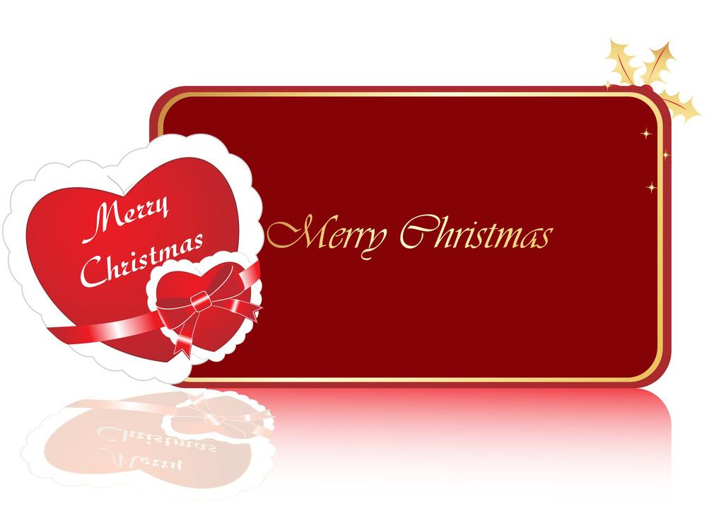 Christmas Card With Heart Frame