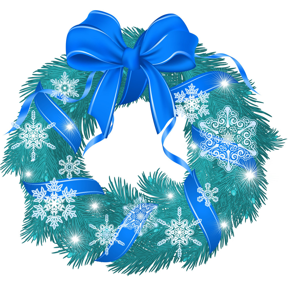 Christmas Cold Blue Garland Decorated With Ribbon Bow And