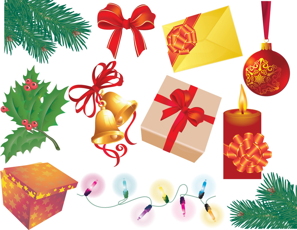 Christmas Decoration Elements Set. Vector.