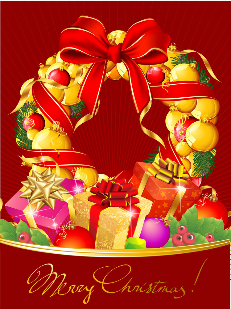 Christmas Decoration, Garland And Gift Boxes. Vector Template.