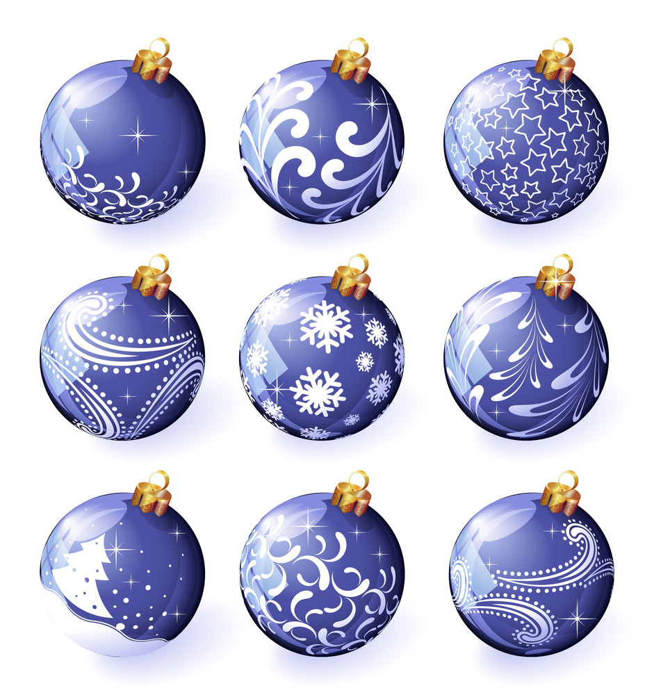 Christmas Decoration. Vector Blue Ornamented Balloons.