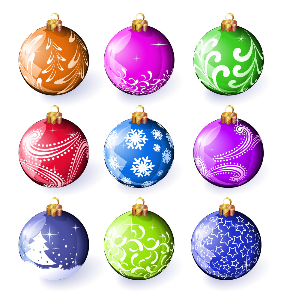 Christmas Decoration. Vector Color Ornamented Balloons.