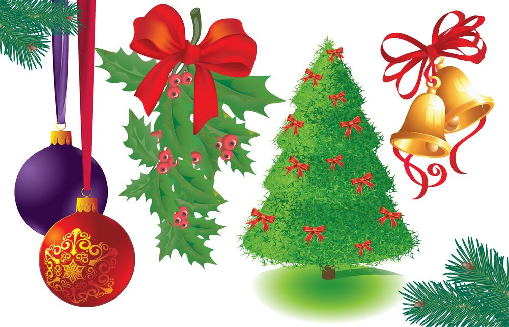 Christmas Decoration Vector Elements Set.