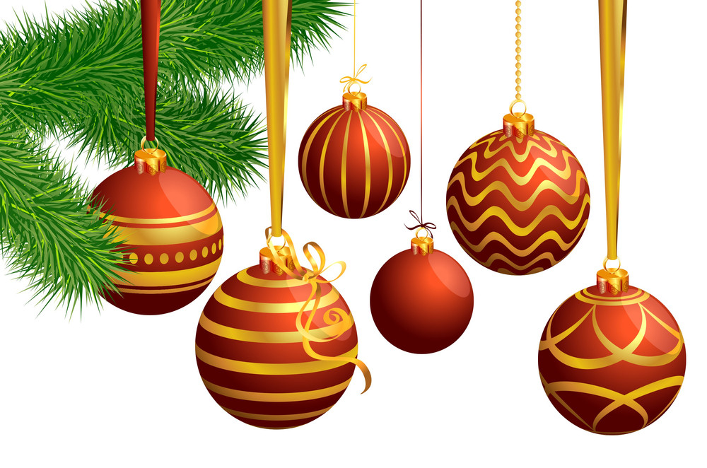 Christmas Decoration With Balloons, Ribbons And Pine Branch. Vector Template.