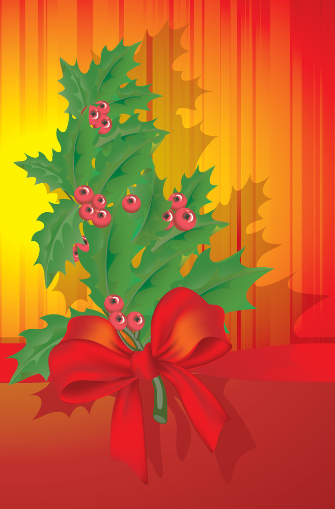 Christmas Decoration With Holly Branch. Vector.