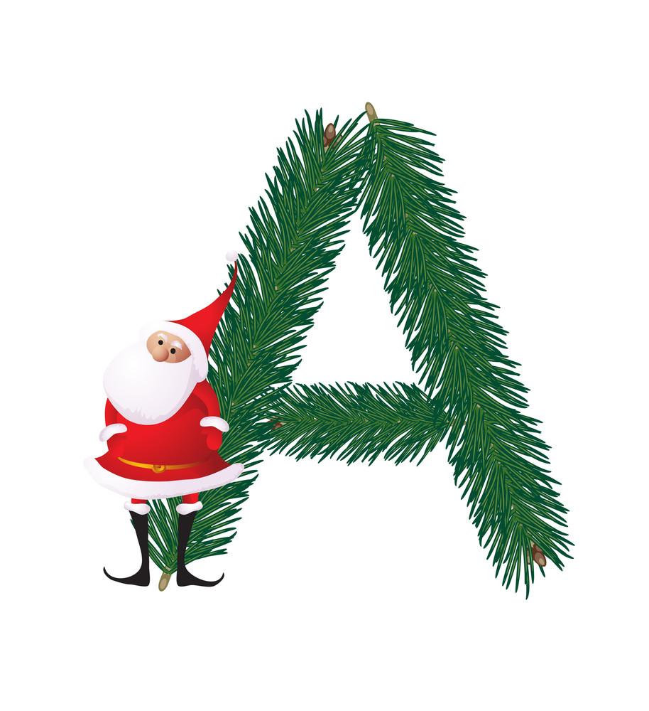 Christmas Decorative Fir-tree Abc With Funny Santas. Letter A. Vector.