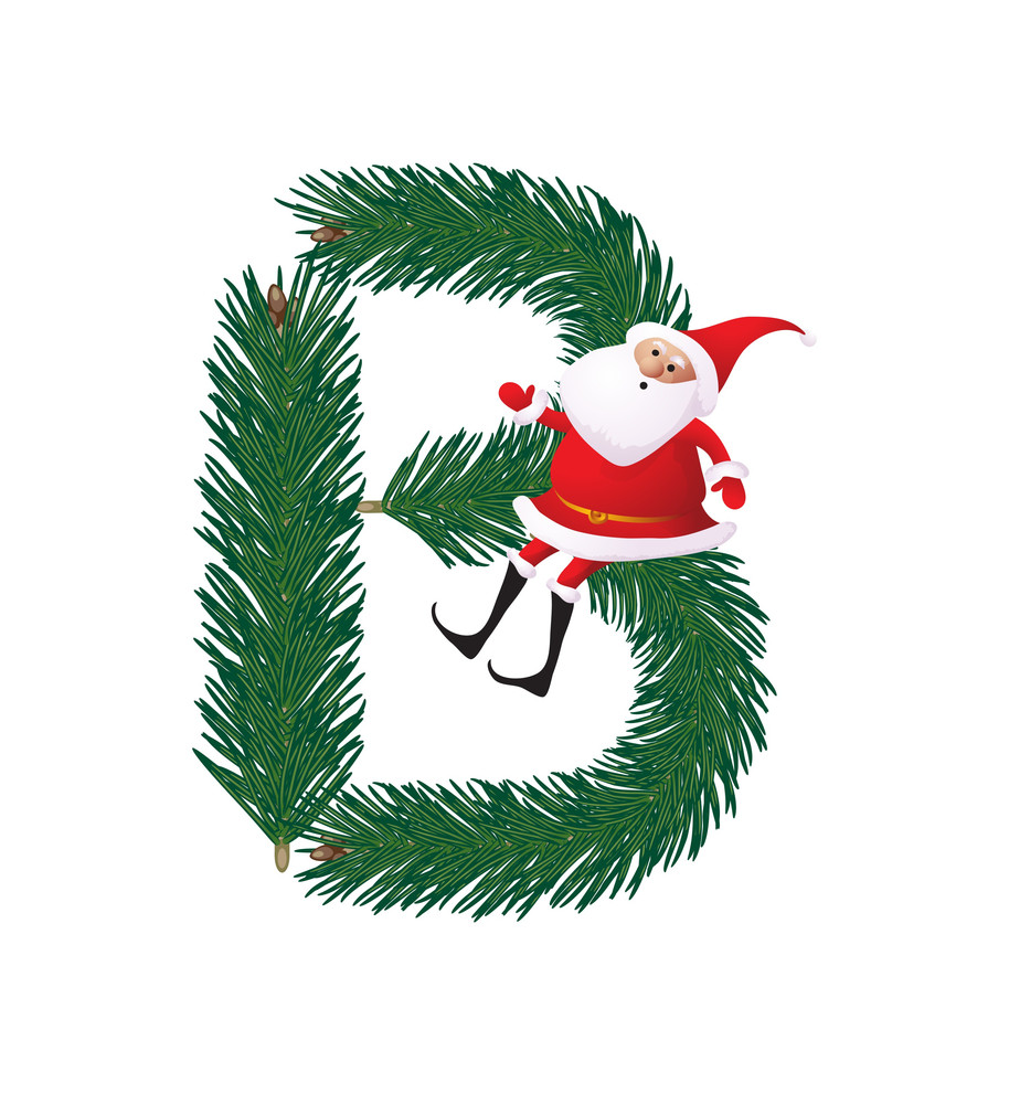 Christmas Decorative Fir-tree Abc With Funny Santas. Letter B. Vector.