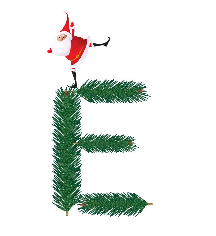 Christmas Decorative Fir-tree Abc With Funny Santas. Letter E. Vector.