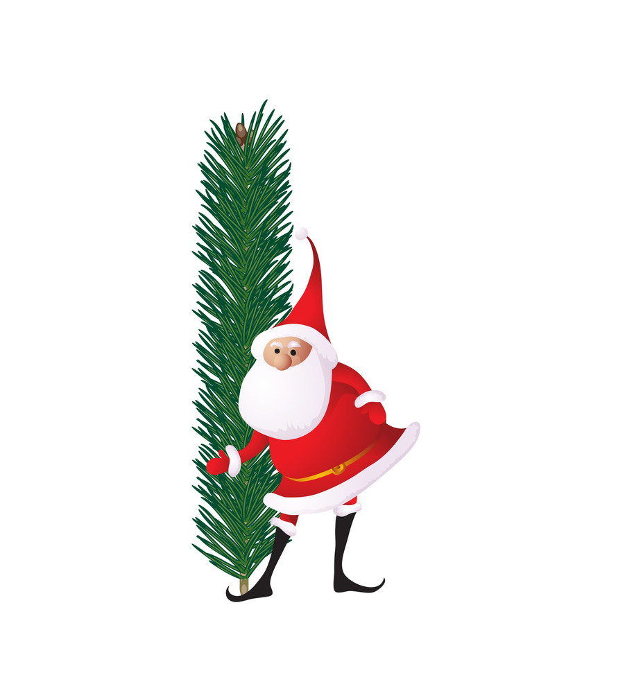 christmas decorative fir tree abc with funny santas letter i vector - Christmas Letter Decorations