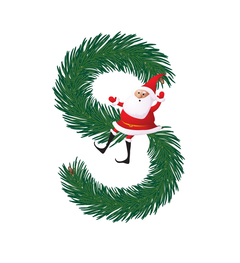 Christmas Decorative Fir-tree Abc With Funny Santas. Letter S. Vector.