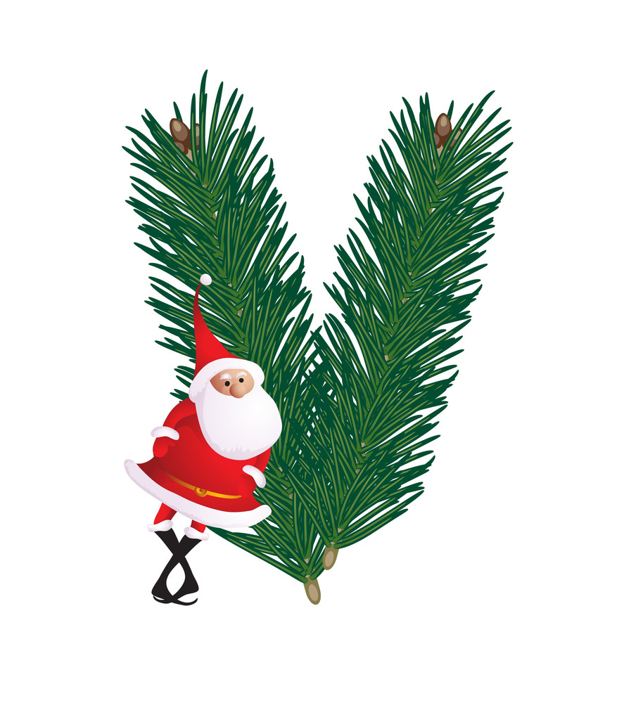 christmas decorative fir tree abc with funny santas letter v vector - Christmas Letter Decorations
