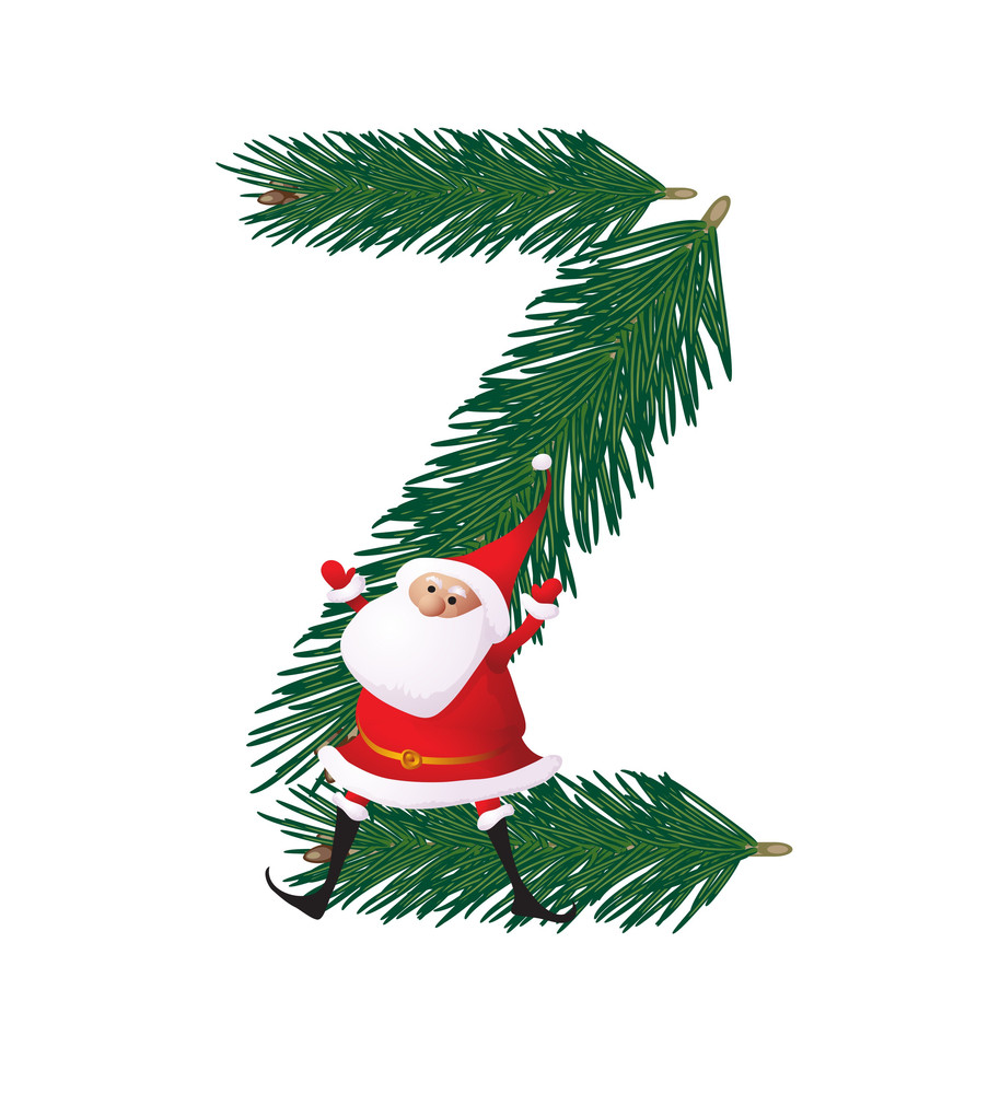 Christmas Decorative Fir-tree Abc With Funny Santas. Letter Z. Vector.