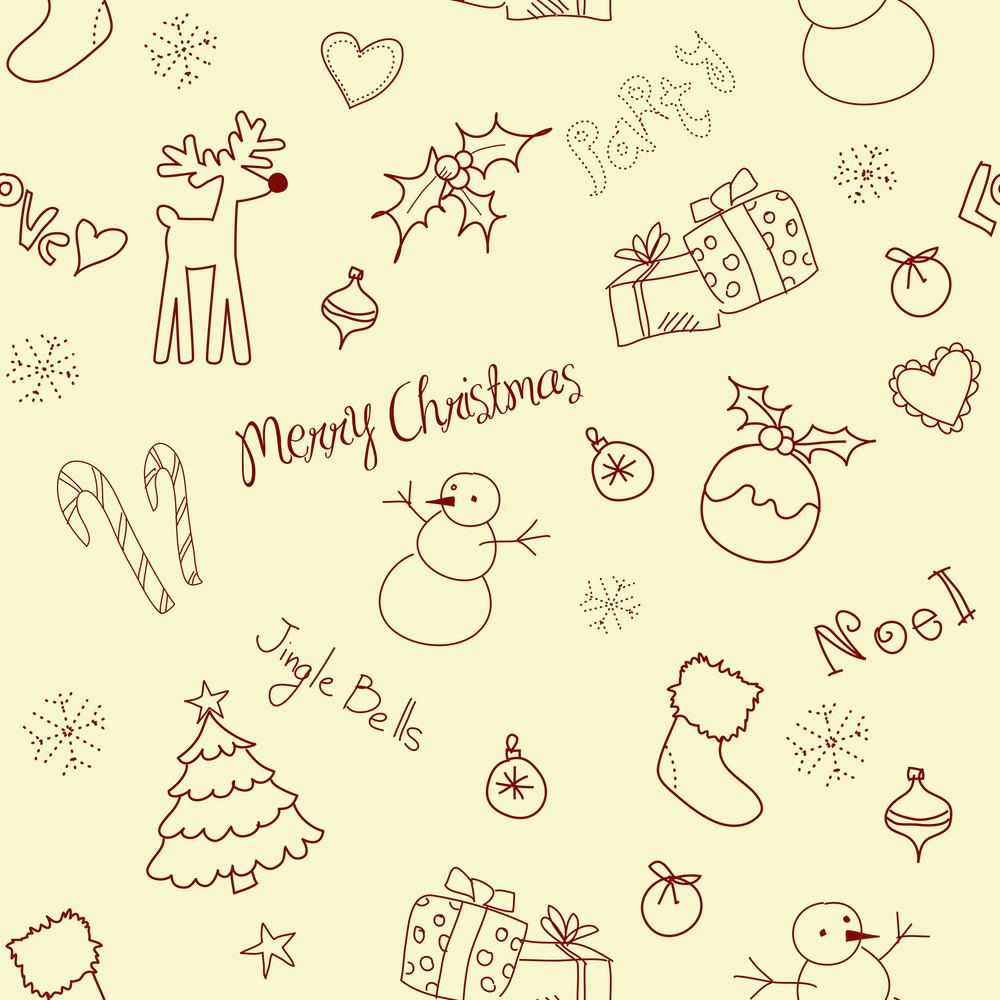 Christmas Doodles. Seamless Pattern-