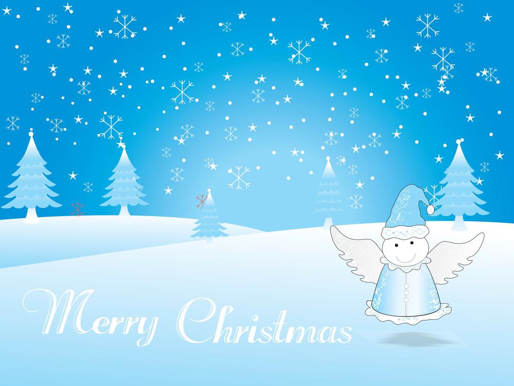 Christmas Fairy On Snowflake Background