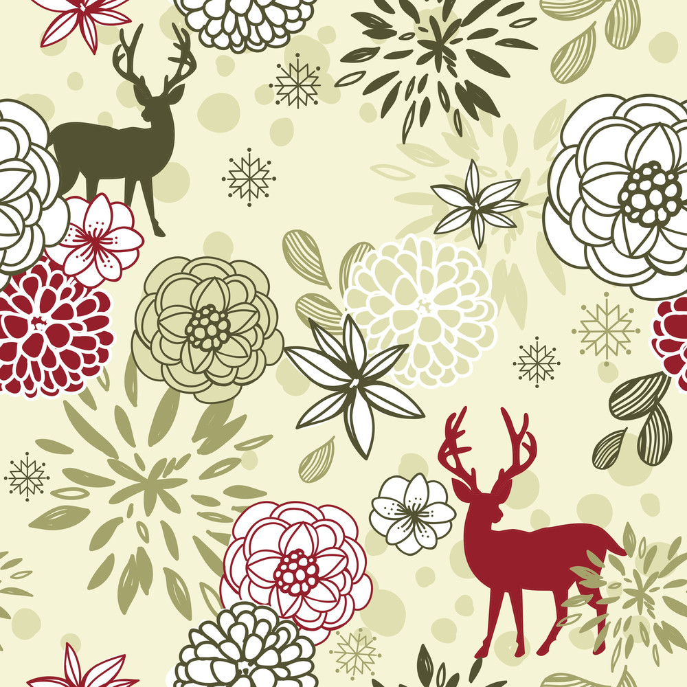 Christmas Floral Seamless Pattern With Deers And Birds