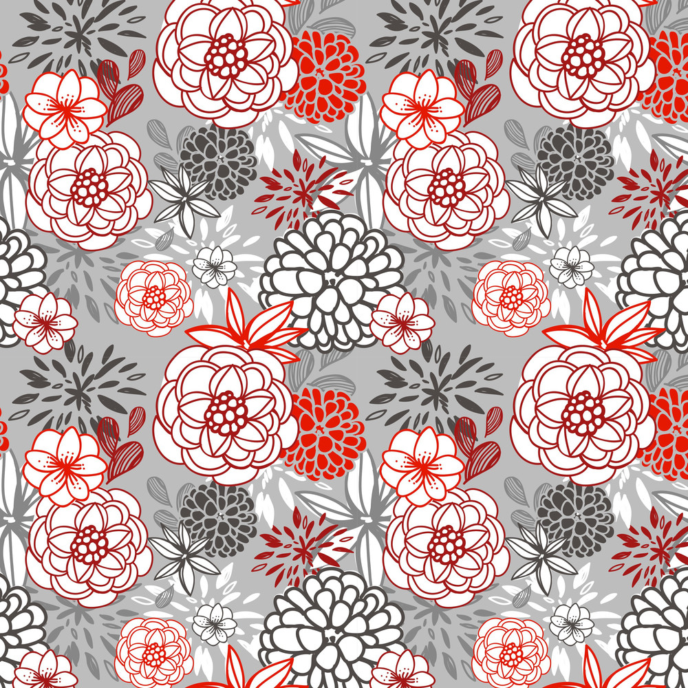 Christmas Floral Seamless Pattern With Red And Grey Flowers