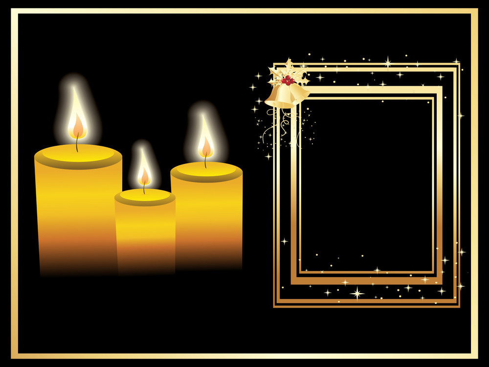 Christmas Frame With Bell And Candles