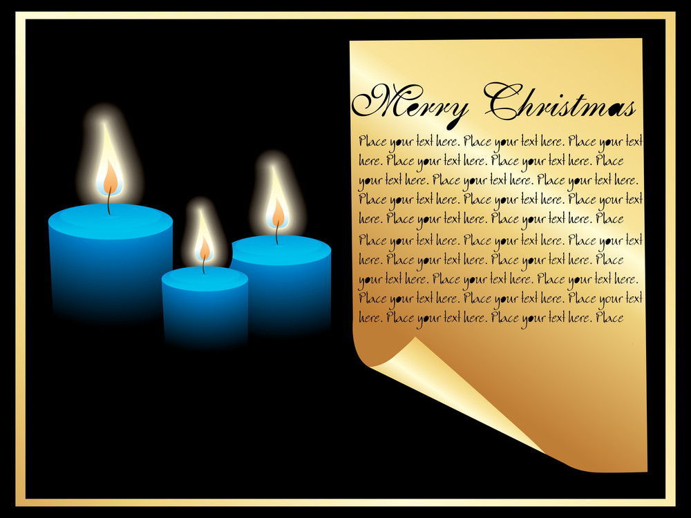 Christmas Frame With Candles And Paper