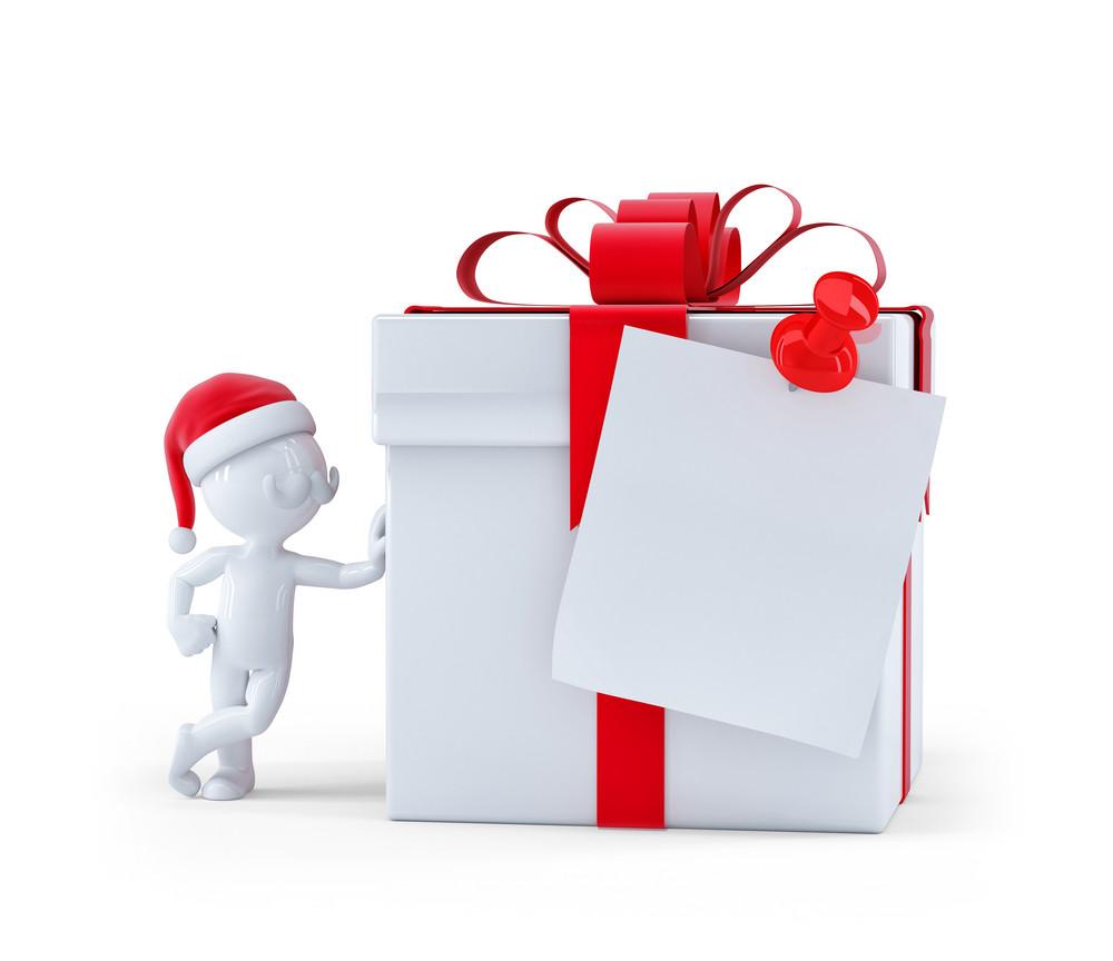 Christmas Gift Box With Blank Card