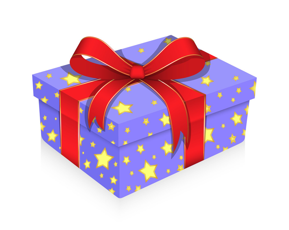 Christmas Gift Wrapped With Ribbon