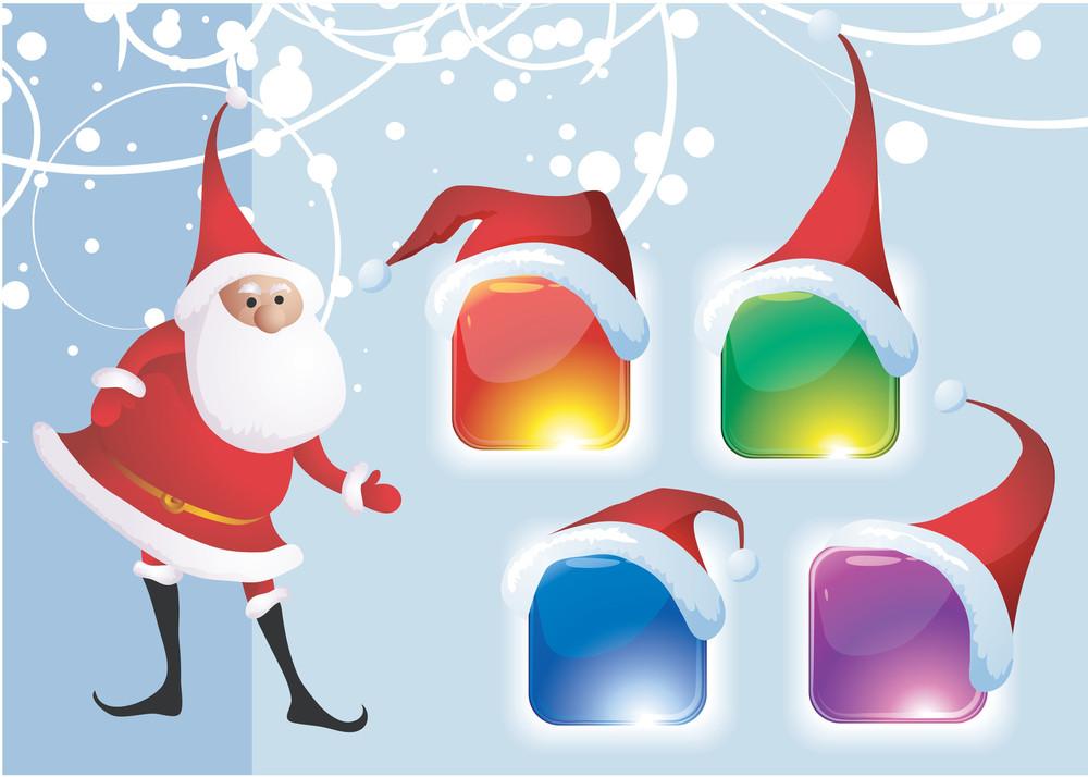 Christmas Glossy Refracting Santa's Icon Set. Vector.