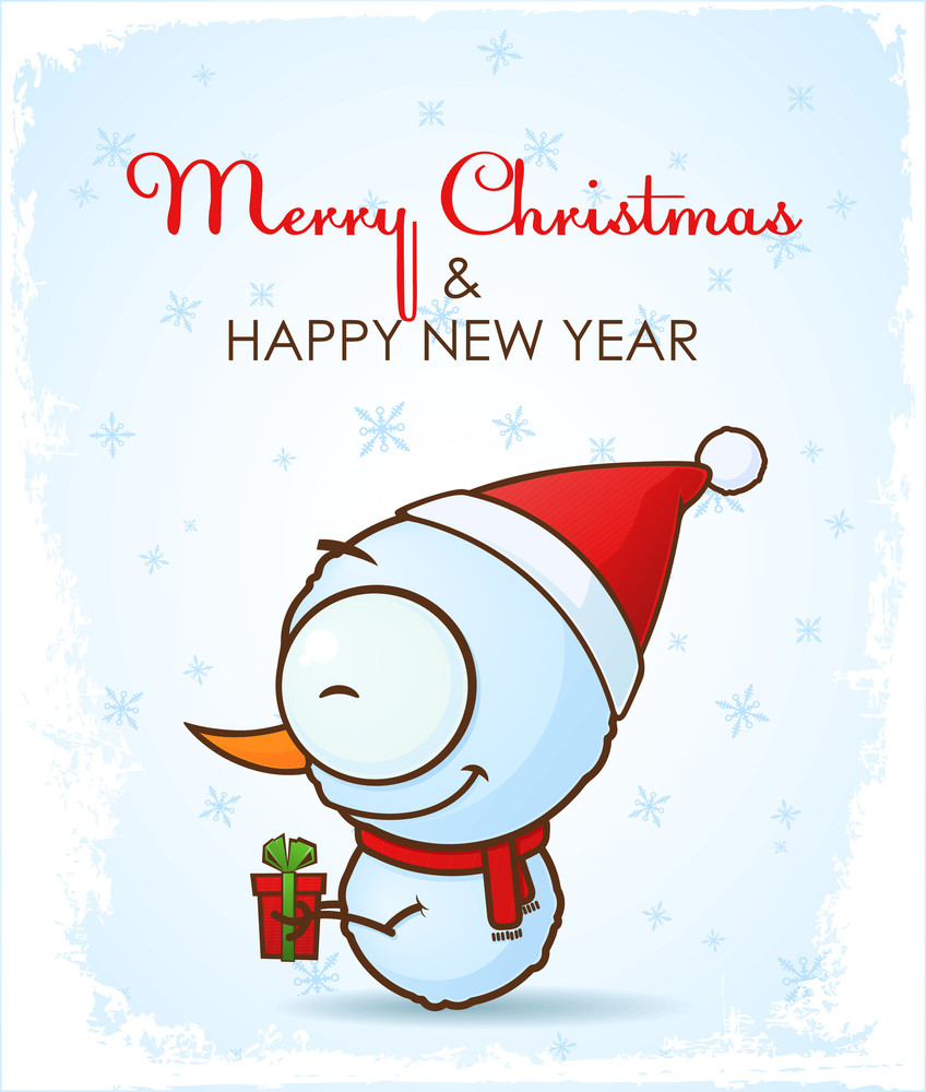 Christmas Greeting Card With Cartoon Snowman.