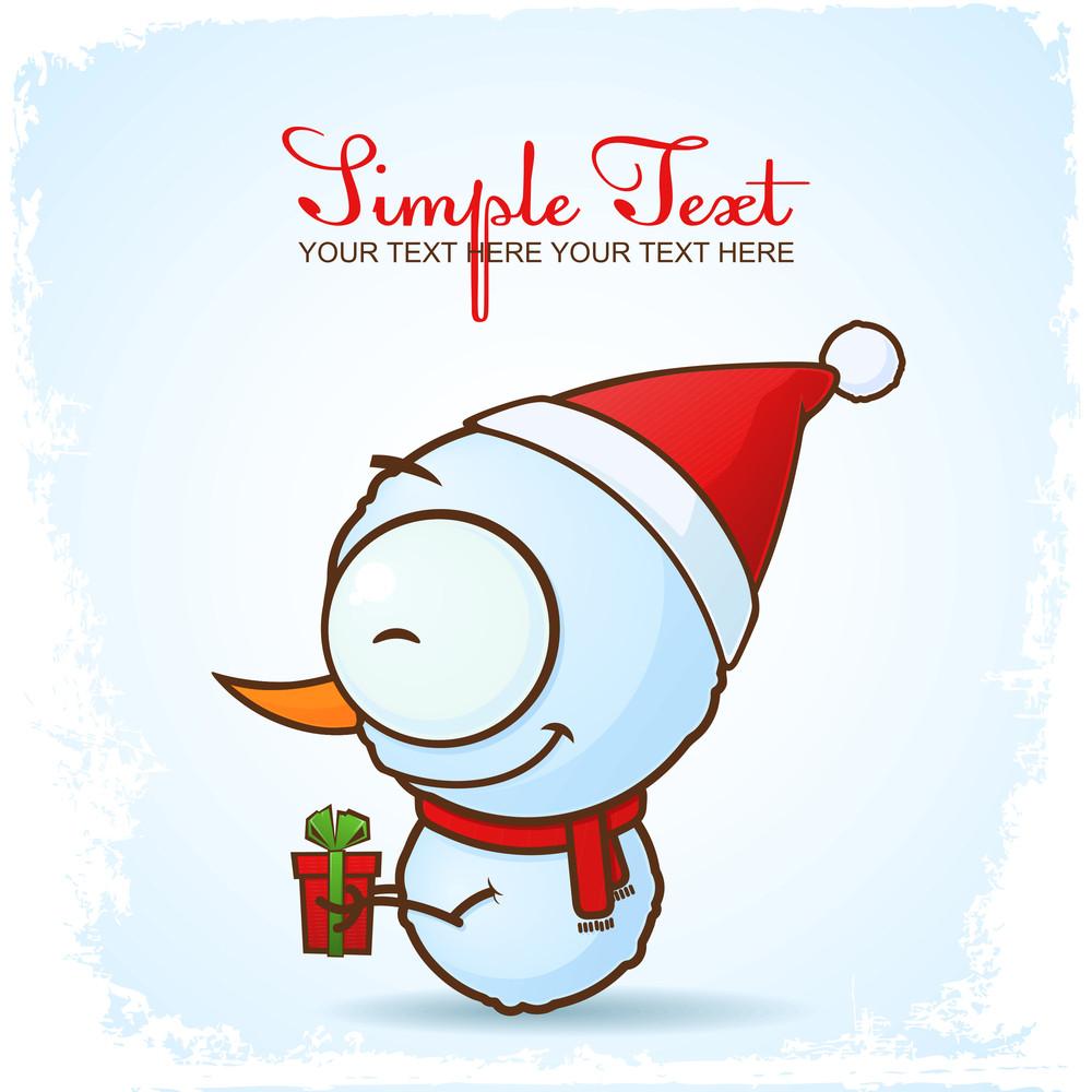 Christmas Greeting Card With Cartoon Snowman.
