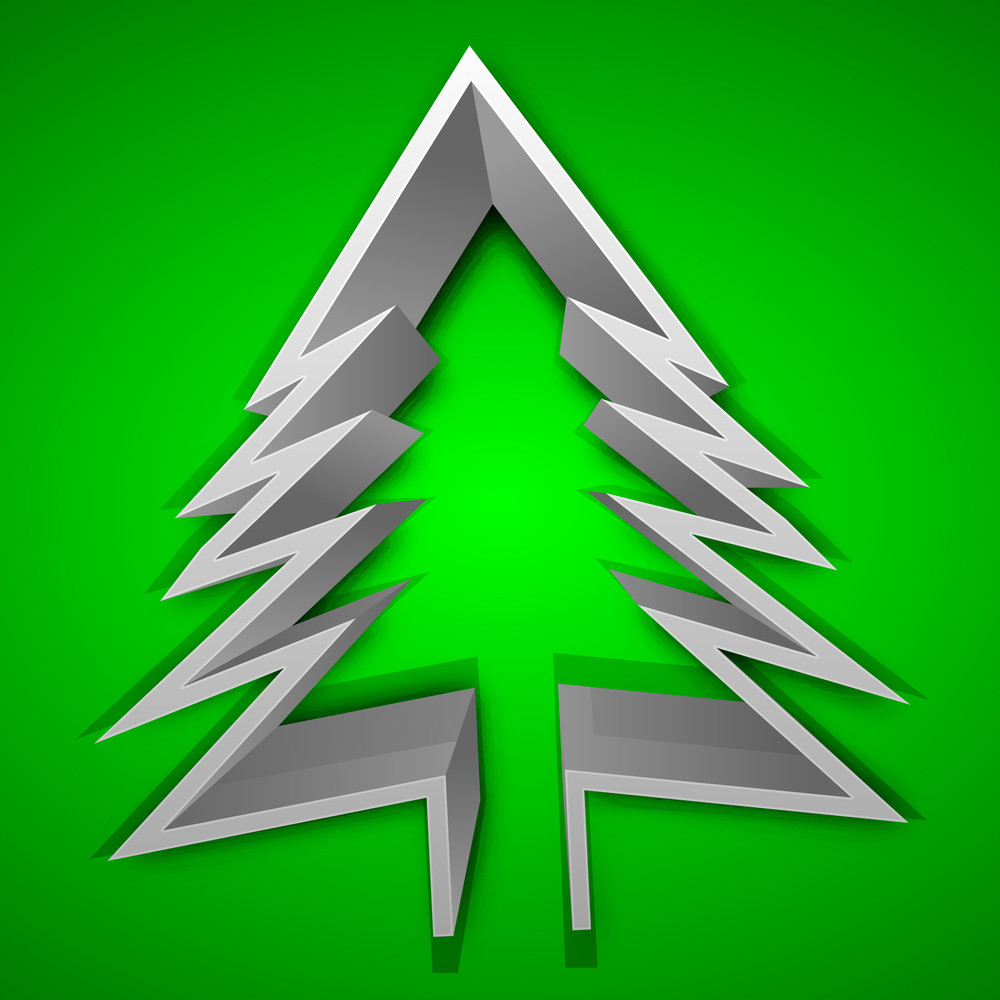 Christmas Greeting Or Gift Card With 3d Xmas Tree On Green Background.