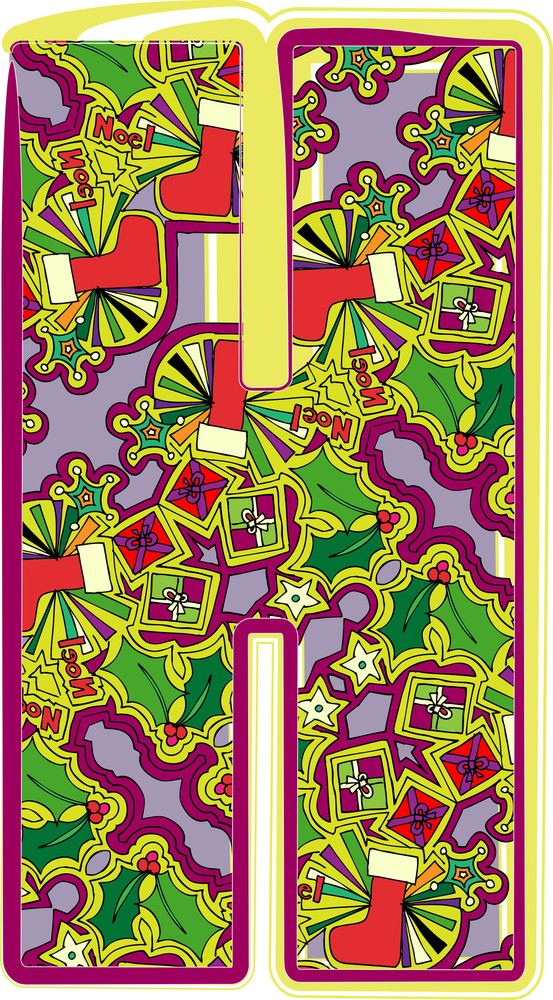 Christmas Hand Drawn Letter. Vector Illustration