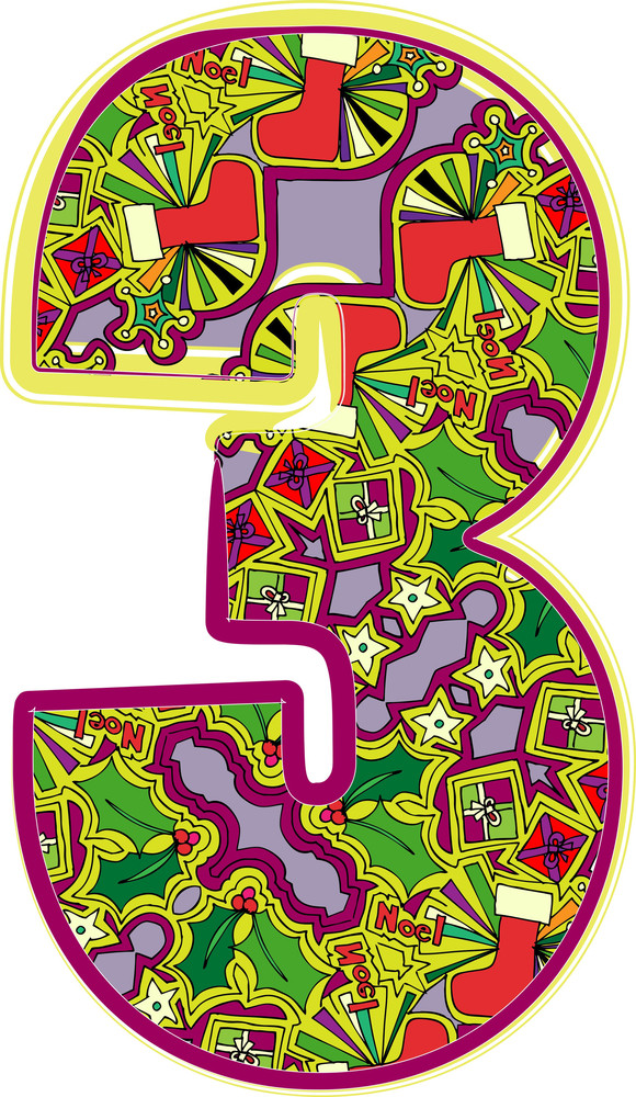 Christmas Hand Drawn Number. Vector Illustration