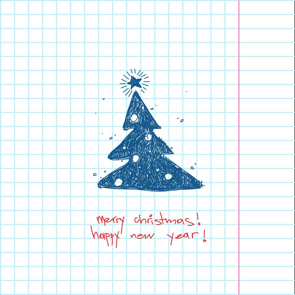 Christmas Handdraw Card. Vector