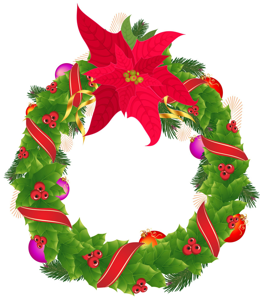Christmas Holly Garland With Red And Golden Ribbons And Christmas Star. Vector.