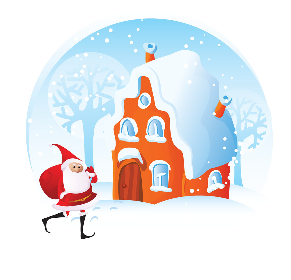 Christmas Home. Vector Decorative Abstract.