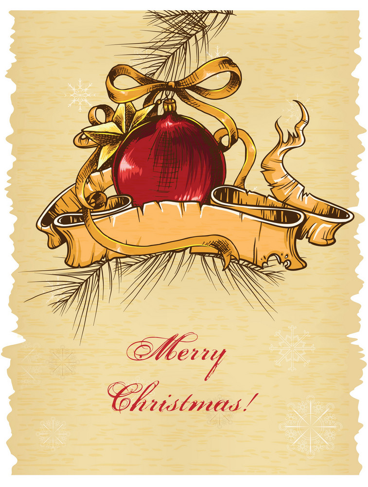 Christmas Illustration With Bow,ball And Scroll
