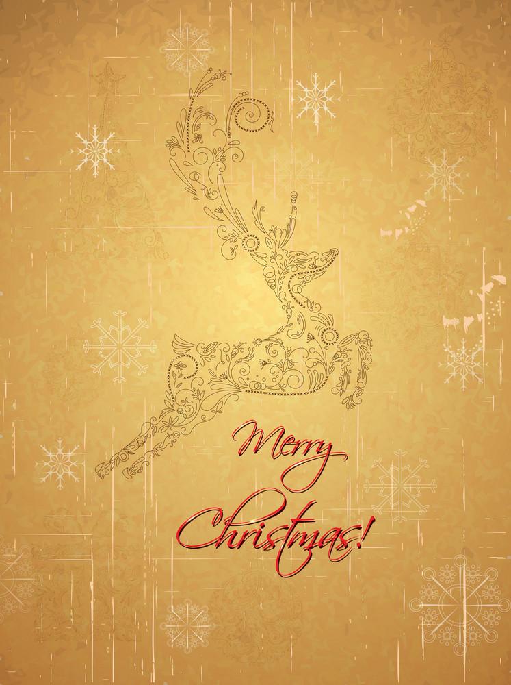 Christmas Illustration With Deer