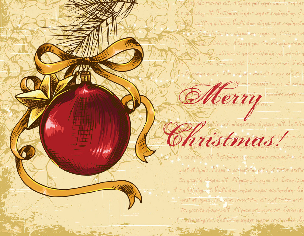 Christmas Illustration With Mistletoe