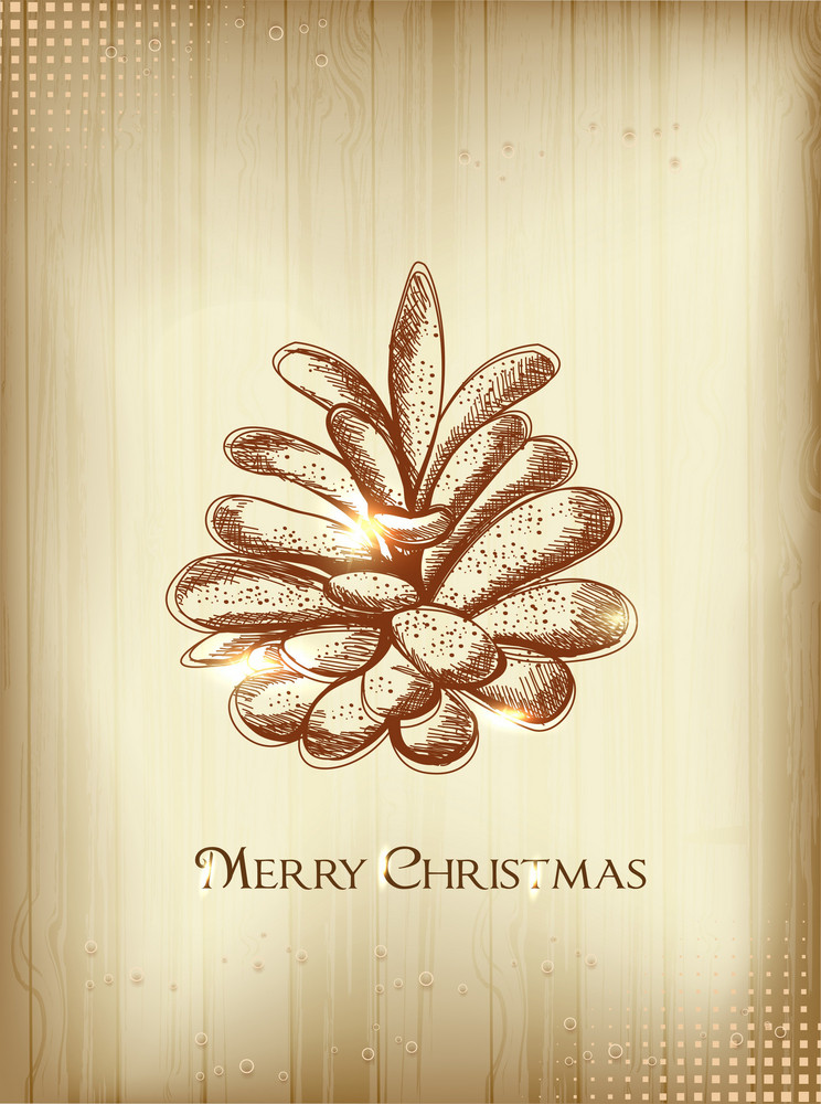 Christmas Illustration With Pine Cone