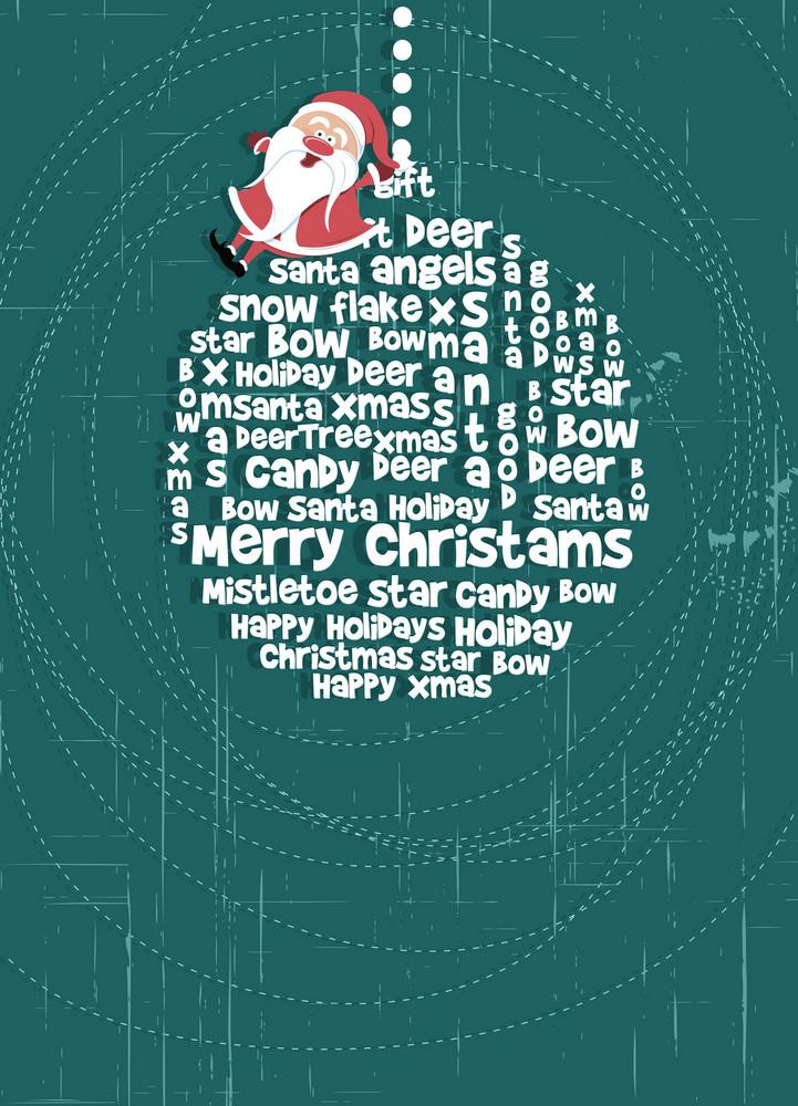 Christmas Illustration With Santa And Globe